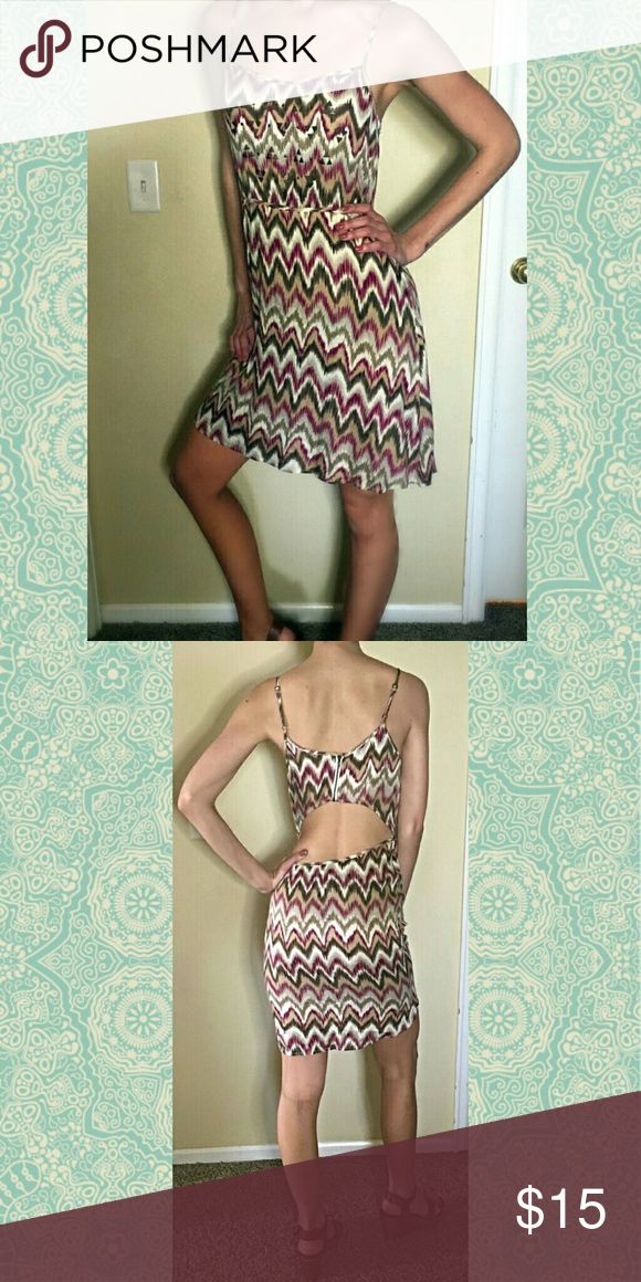 Open Back Lucca Couture Dress Size Small Light and flowy, front is embellished with studded bronze Aztec shapes.  Beautiful low back, perfect for any summer occasion! Lucca Couture Dresses Backless