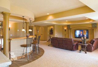 Basement Bar and Home Theater - traditional - basement - minneapolis - by Finished Basement Company