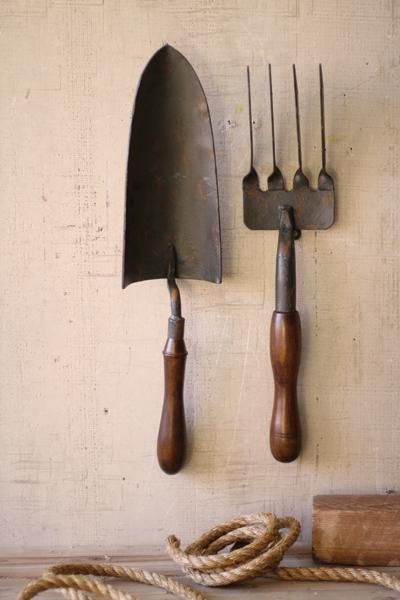 set of two garden tools wall hangings | fork and spade wall art