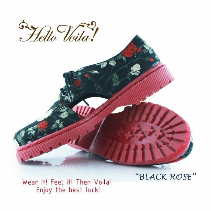 black rose  #oxfords #vintage #handmade #fashion #patternt #rope #polca #dot #voila #boot #docmart #flower #floral