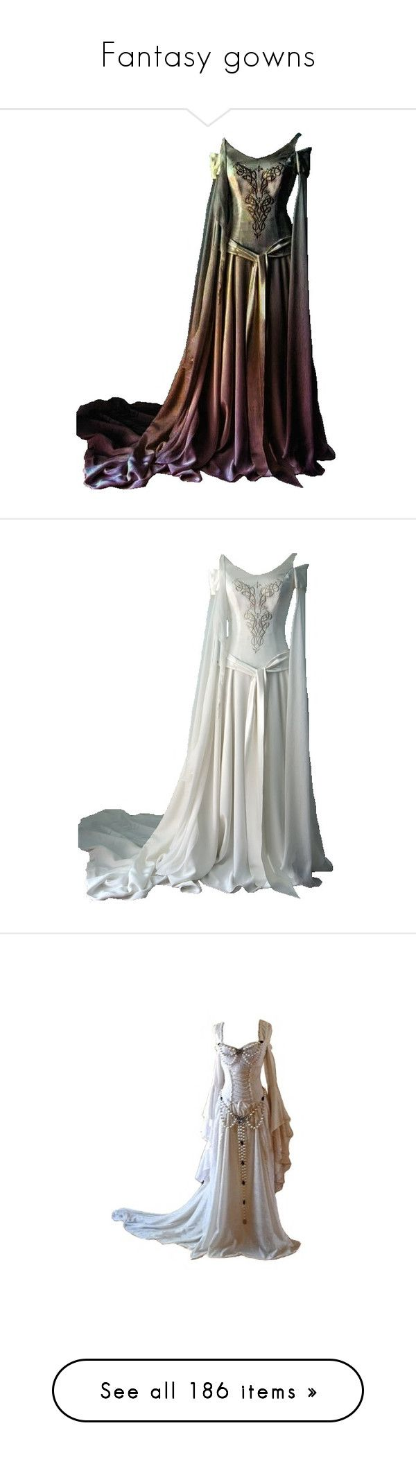 """Fantasy gowns"" by rebellious-ingenue ❤ liked on Polyvore featuring dresses, gowns, medieval, long dresses, costume, costumes, gown, historical, medieval dress and wedding dresses"