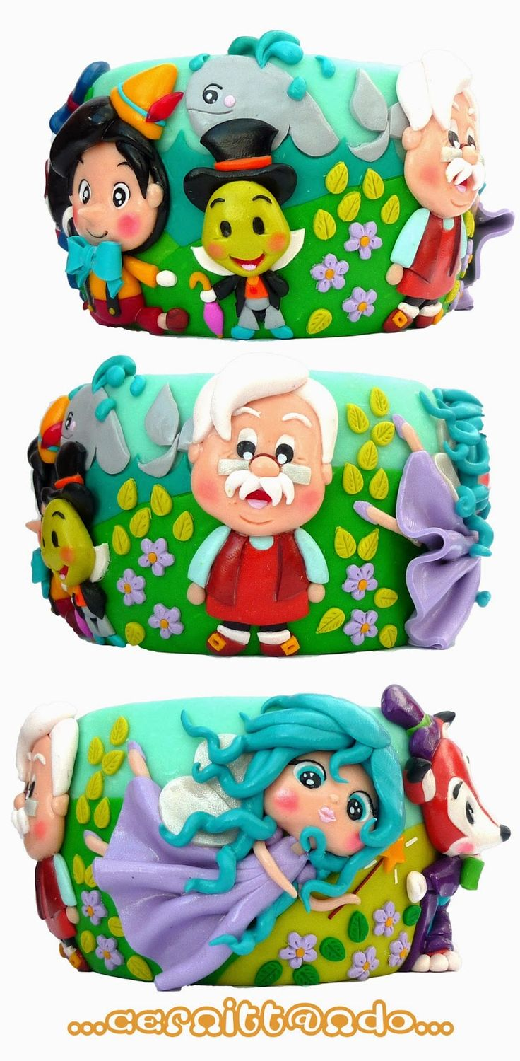 handmade polymer clay Pinocchio bangle by cernittando.deviantart.com on @deviantART
