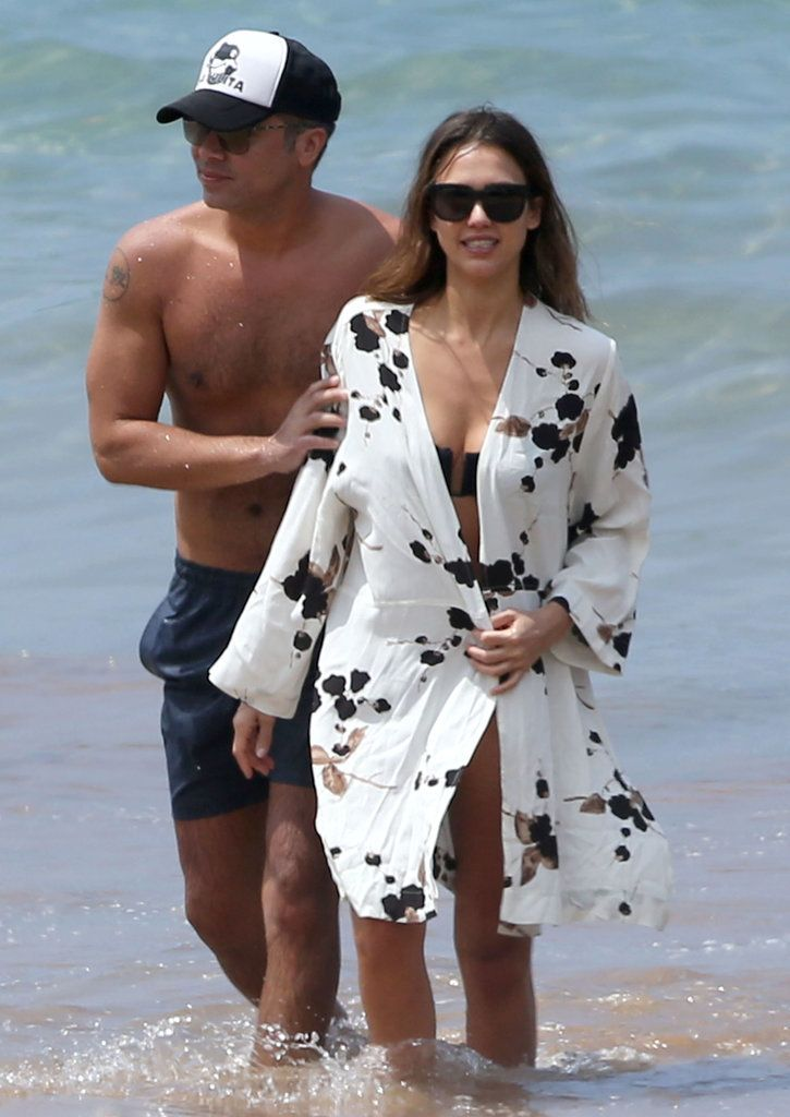 Bikini-Clad Jessica Alba Enjoys a Fun Day at the Beach With Her Husband