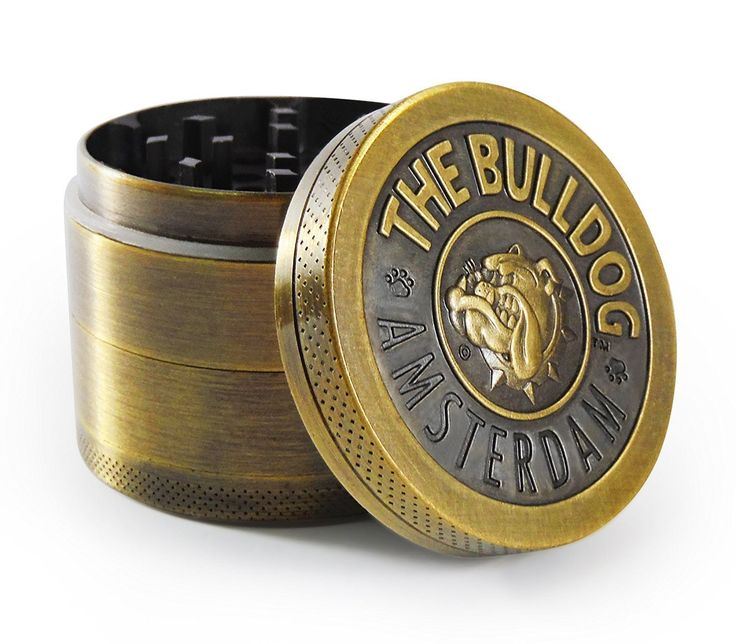 4 Piece Herb Spice Weed Tobacco Grinder With Pollen Kief Catcher By BULLDOG - Ideal Sleek Design - 50mm Diameter Small Travel Size Crusher - Heavy Duty & Durable Construction