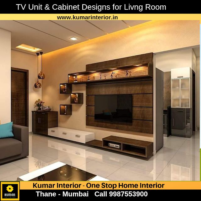 "Living Room Cabinet Design In India: ""1 BHK Home Interior Design"