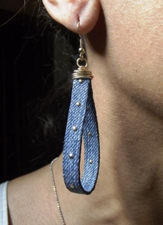 Denim Earrings- by maidendenim (could do this with ribbon or cord)