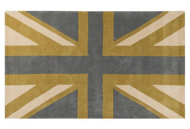 Union Jack Rug, Dove Gray Union jack rug, English