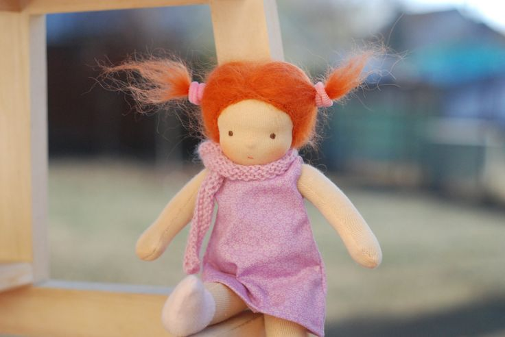 Waldorf doll - Dressable doll - Redhead - Doll with red hair - Steiner doll - 9 inch - pink dress by naronka on Etsy