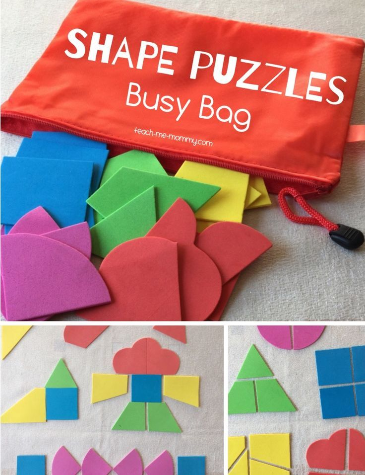 Make a busy bag with shape puzzles using craft foam. The perfect activity for toddlers and preschoolers!