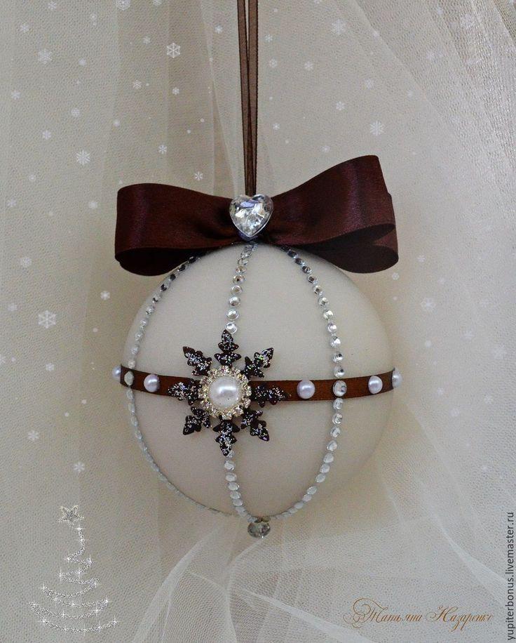 """Купить Набор новогодних шаров """"Крем брюле"""" - бежевый, коричневый, шары на елку, шары"""