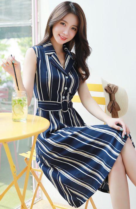 StyleOnme_Pinstripe Belted Sleeveless Collared Dress #navy #stylish #koreanfashion #kstyle #kfashion #dress #pinstripe #feminine #summertrend #seoul