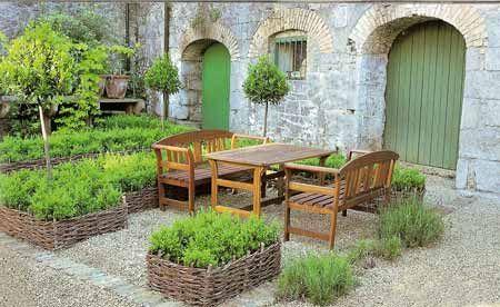herb gardenGardens Beds, Courtyards Gardens, Green Doors, Raised Beds, Google Search, Herbs Gardens, Gardens Design, Back Patios, Mediterranean Courtyards