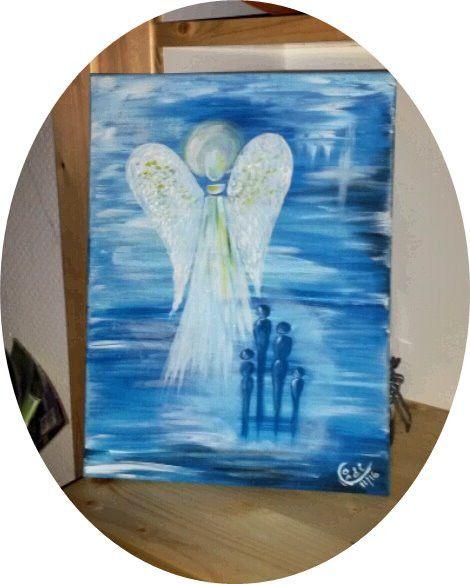 Acrylmalerei - Acrylbild Familien-Schutzengel - ein Designerstück von HOAMELIGundSCHEAN bei DaWanda