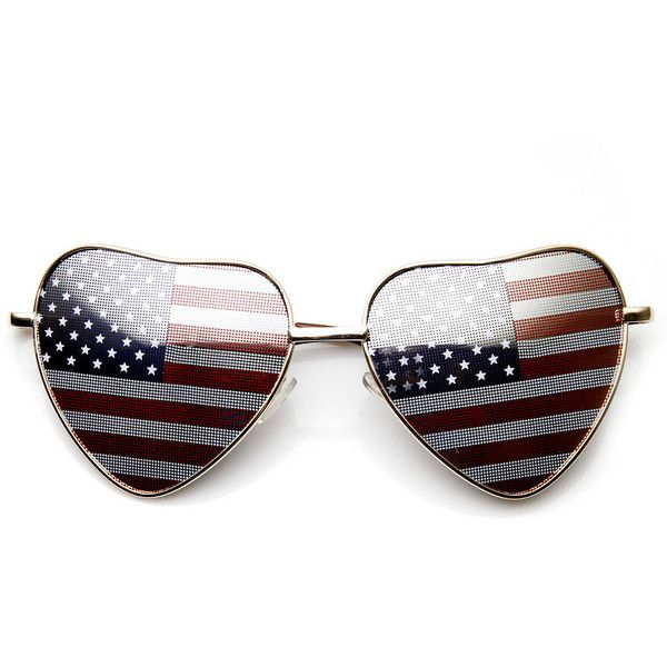 Heart Shape American Flag USA Patriotic Womens Metal Sunglasses ($10) ❤ liked on Polyvore featuring jewelry, sunglass, metal jewelry, heart jewellery, heart jewelry, metal jewellery and heart-shaped jewelry