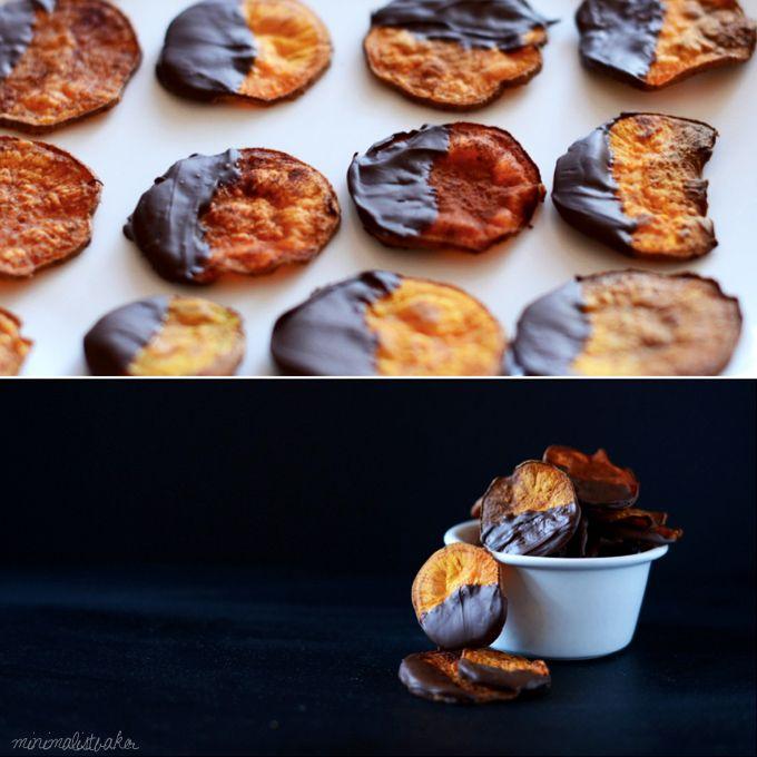Dark Chocolate Sweet Potato Chips   minimalist baker