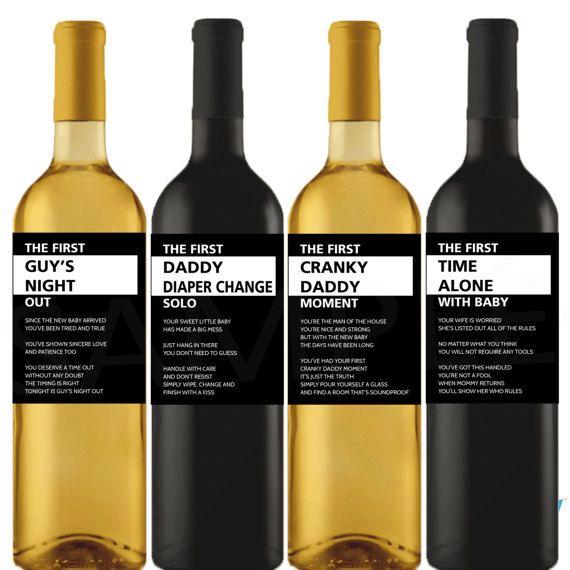 New Dad Gift Wine Labels New Parents Gift Basket by OhBabyShower