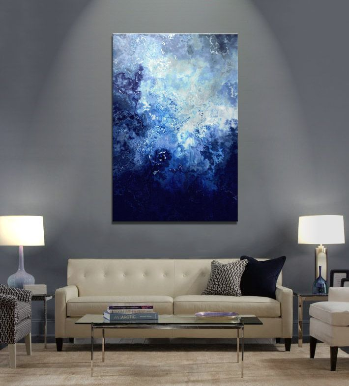 Purchase large abstract painting sapphire dream by jaison cianelli abstract art canvas print for sale