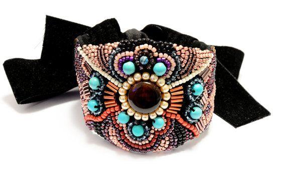 Beaded bracelet statement cuff Autumn bead by HandmadebyIru, €30.00