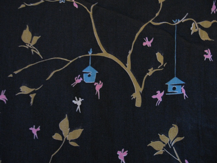 Strange asian birdhouse branch graphic pink blue green on brown black cotton novelty fabric. $8.00, via Etsy.