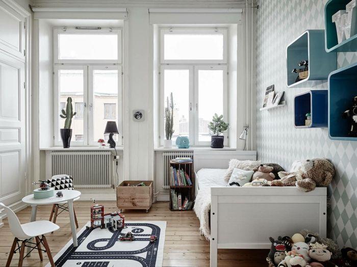 Trend kinderzimmer skandinavisch einrichten kinderbett kinderteppich st hle runder tisch kindertapeten