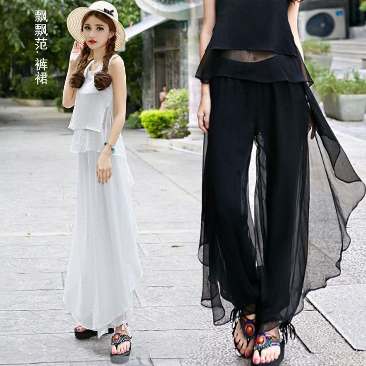 Pants 2017 women autumn summer bohemian hippie long elastic waist white black dark blue solid ankle-length pant trousers