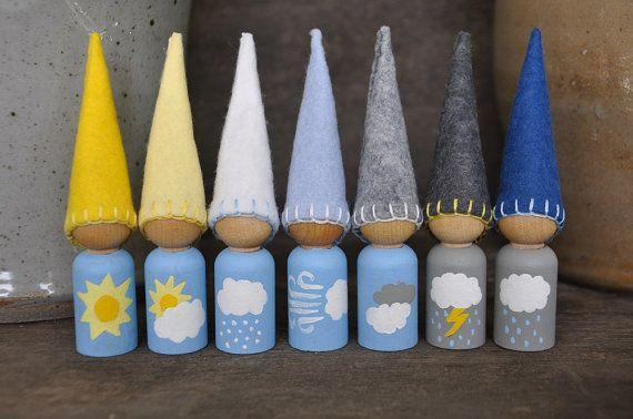 Weer kabouters  geschilderd houten en wol door HoneyBeeToyAndCraft