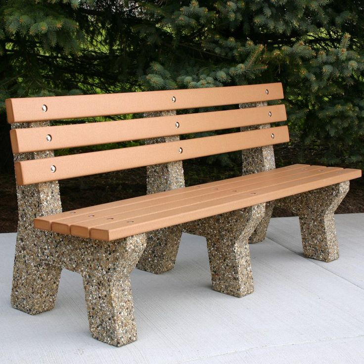Doty & Sons Recycled Plastic Lumber Concrete Bench - 6 ft.
