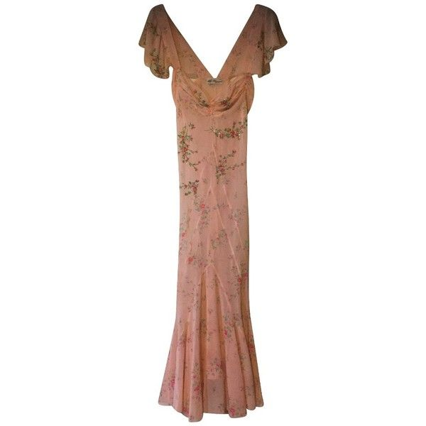 Pre-owned Long silk dress ($225) ❤ liked on Polyvore featuring dresses, nude, long silk dress, long dresses, silk dress, sequin embellished dress and long patterned dress