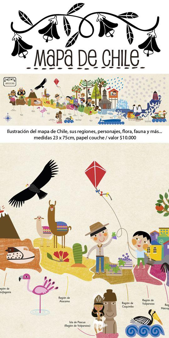 Me encanta esta ilustración de mi país Chile. Es especial para que los niños aprendan sobre su tierra En: http://www.pajaritodemimbre.cl/p/deco.html