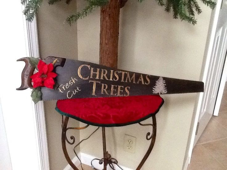 "Old Rustic Hand Saw ""Fresh Cut Christmas Trees"" Country Primitive Decor #NaivePrimitive"