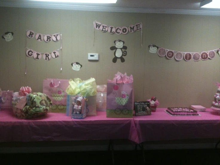 46 best images about baby shower ideas on pinterest baby - Baby shower monkey decorations for a girl ...
