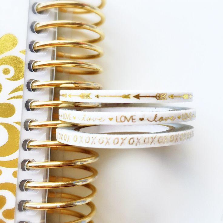 Image of 3 Skinny Gold Foil LOVE Washi Trio