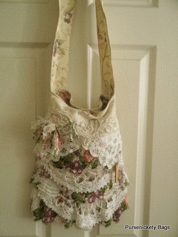 Gypsy Shabby Chic bag handmade with thick, soft cream and floral upholstery fabric. Nice bohemian style with ruffled floral lace and doilies.