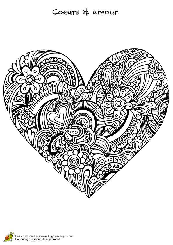 Coloriage Cœur Mandala Fleurs et Nature - Hugolescargot.com