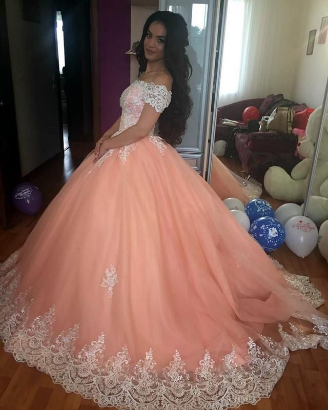 1bbd0f6ef32 Item Description   A Glamorous Tulle Ball Gowns Dress Featuring V-neckline  With Off The Shoulder Design