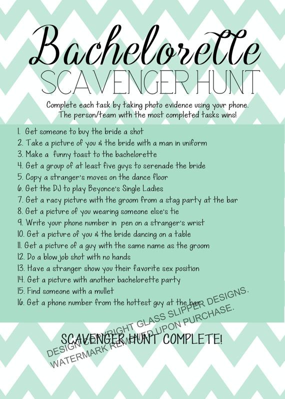 Printable bachelorette scavenger hunt game/ bachelorette games/ bachelorette printable/ chevron bachelorette/ scavenger hunt /hen party game