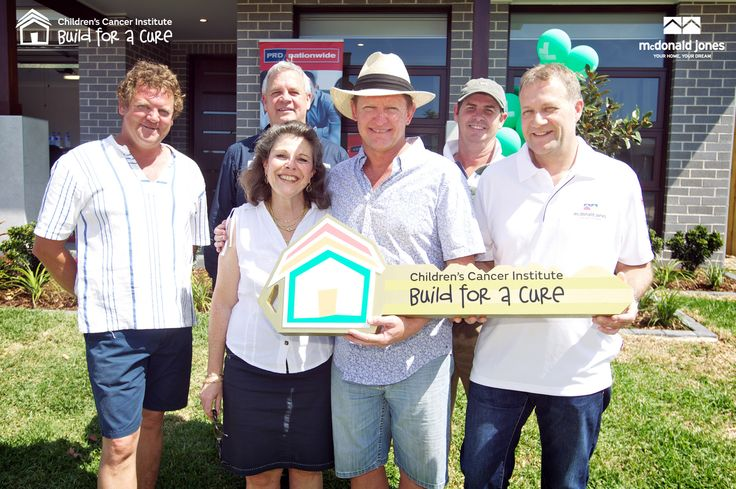 Auction Day (26 Oct 2014) The Build for a Cure Build Partners from L to R Adrian Wearn, Wally Kluktewicz (Austral Bricks), Michelle Haber (Children's Cancer Institute Australia, Rob Wearn, Bruce Wearn and Steve Hearn (McDonald Jones Homes). This was a proud moment for everyone involved.  #McDonaldJonesHomes #Austral #bricks #auction #cancer #greatcause #charity #BuildforaCure