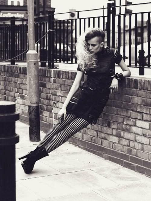 Alice Dellal - Striped tights.