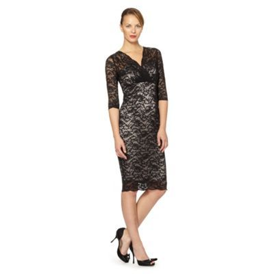 Debut Black lace fitted midi evening dress- at Debenhams.ie