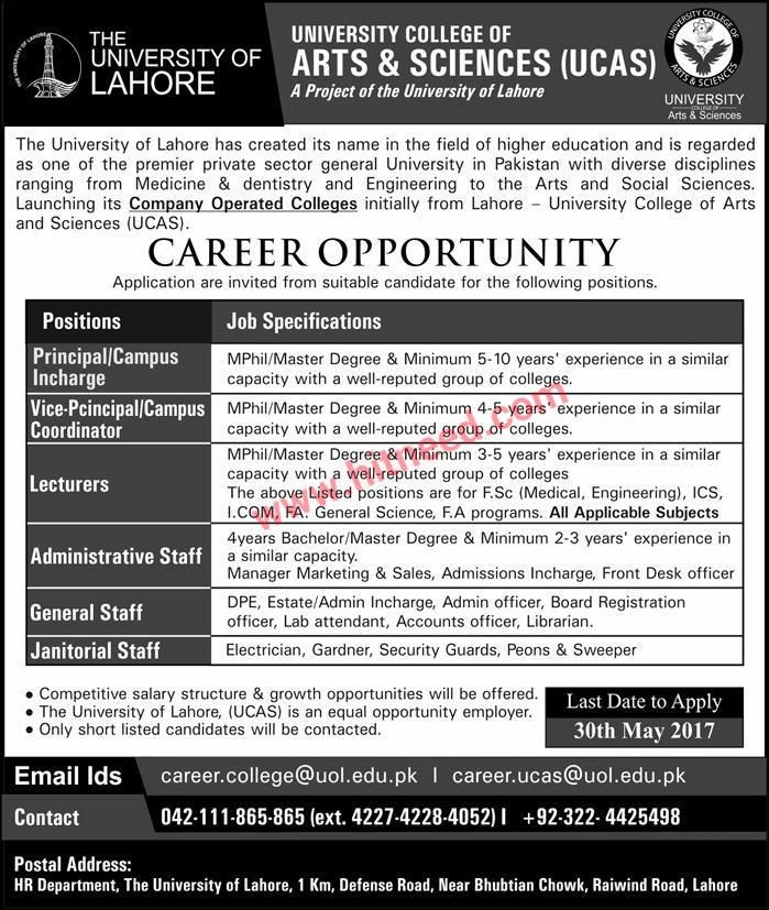 UNIVERSITY COLLEGE OF ARTS & SCIENCES (UCAS) LAHORE  A Project Of the University Of Lahore  The University of Lahore has created its name in the field of higher education and is regarded as one of the premier private sector general University in Pakistan with diverse disciplines ranging from   #Accounts Officer #Admin Officer #Lahore Jobs #Lecturer #Manager Marketing #Principal #University Jobs #Vice Principal