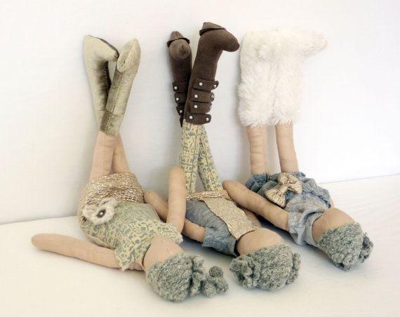 Handmade fabric EDEN doll. Beige doll & cream by KOOKYhandmade