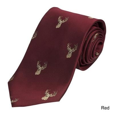 Woven Country Silk Tie Stag Head