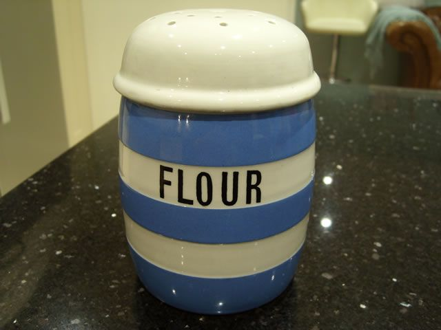 FS: TG Green Blue and White Cornishware Flour Shaker, perfect condition, Green Shield to Base, small chip to the screw thread on inside of lid which does ...