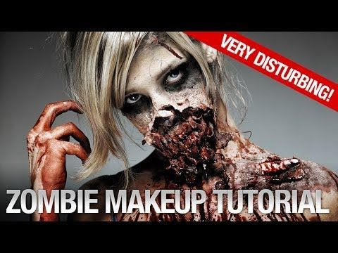 ▶ Gory halloween zombie makeup tutorial - YouTube - Ellinor Rosander - Some awesome ideas in this!