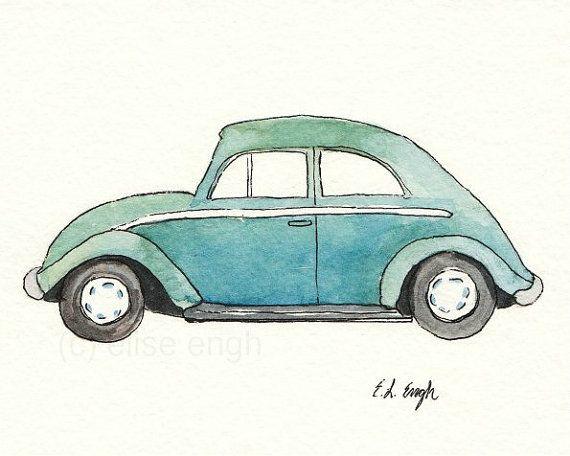 Watercolor Blue Green Vintage Volkswagen Beetle Car, Fine Art  Giclee Print, 8 x10