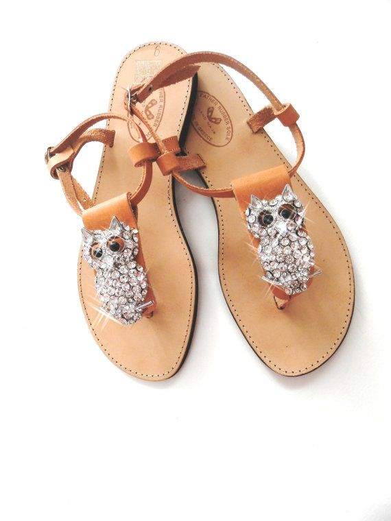 Handmade leather sandals decorated with owl jewel ( I don't just want these, I NEED these. That's a sign of maturity right??)