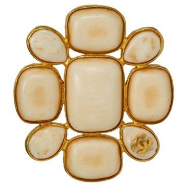 Check out this item at One Kings Lane! Chanel Bone Color Logo Pin