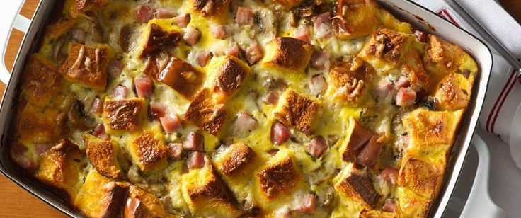 Use your leftover ham in this indulgent breakfast bake, made with a traditional golden bread, caramelized shallots, mushrooms and a hint of Dijon mustard -- sure to be a hit with your guests.