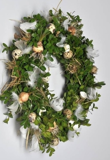 Easter Wreath - like the touch of feathers in there with the eggs