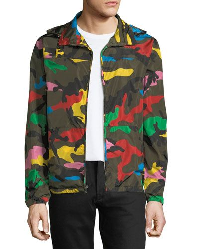 cdd0889d5a518 VALENTINO MULTI-COLORED CAMOUFLAGE RAIN JACKET. #valentino #cloth ...